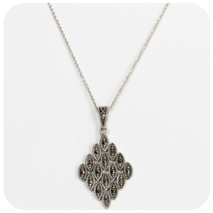 Sterling Silver and Marcasite Diamond Shape Pendant