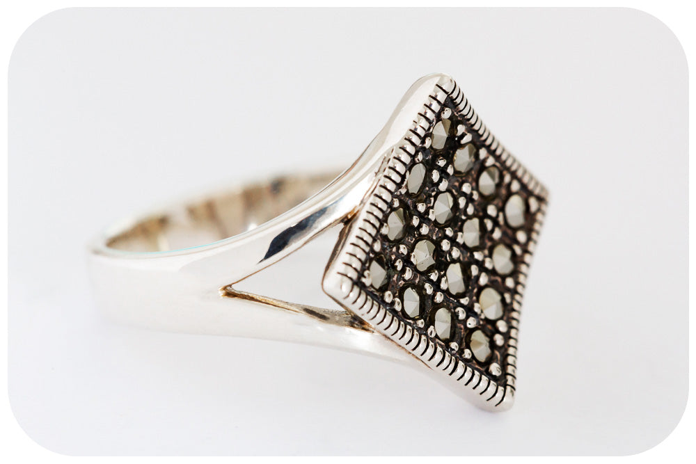 Sterling Silver Ring with Marcasite - Victoria's Jewellery