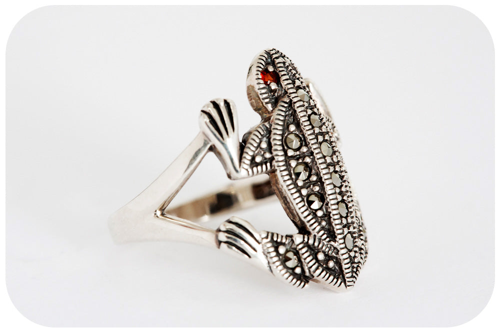 Sterling Silver Frog Ring with Garnet and Marcasite - Victoria's Jewellery