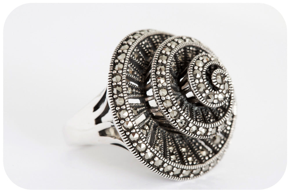 The Marcasite Spiral Ring - Large - Victoria's Jewellery