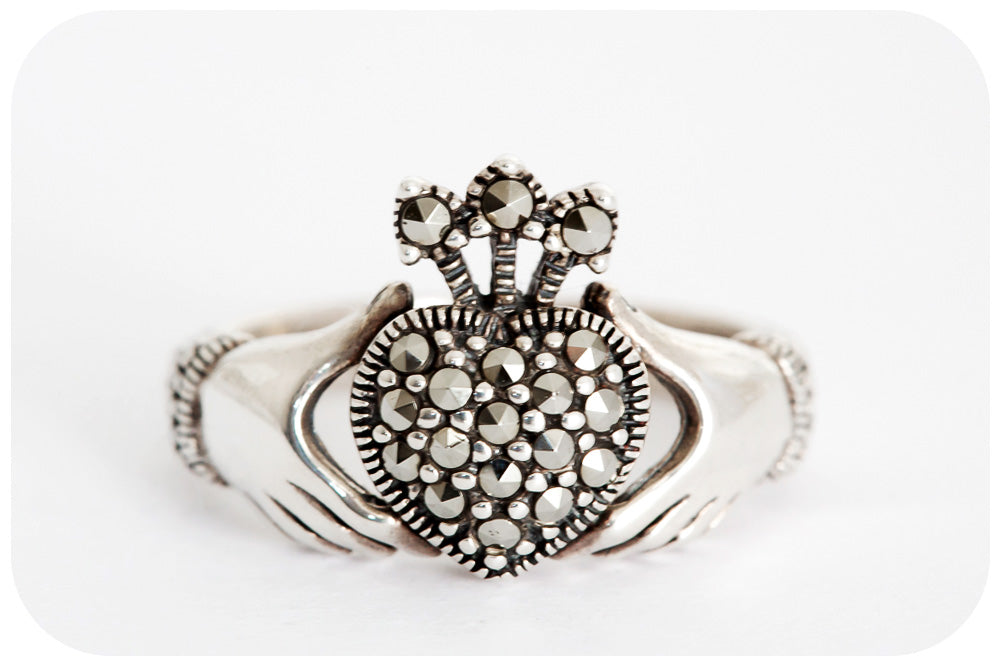 The Marcasite Claddagh Ring in 925 Sterling Silver (the ring of love, loyalty and friendship) - Victoria's Jewellery