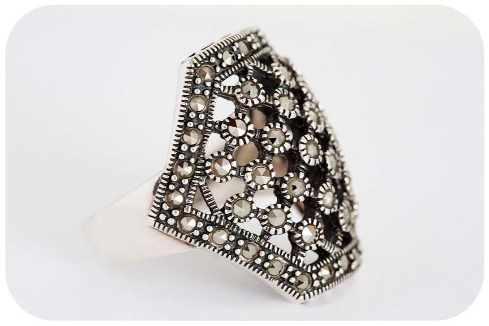 Silver Ring with Marcasite - Victoria's Jewellery