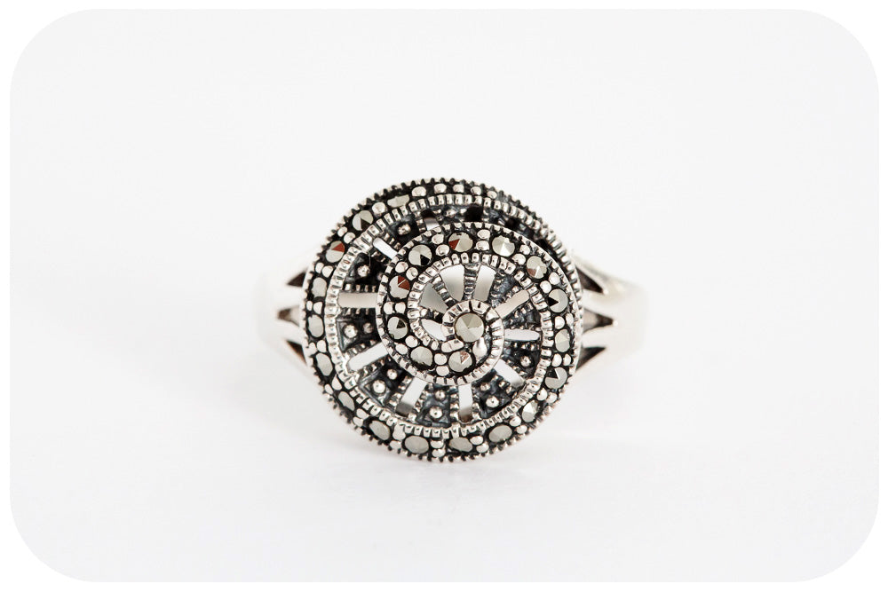 The Marcasite Spiral Ring - Small - Victoria's Jewellery