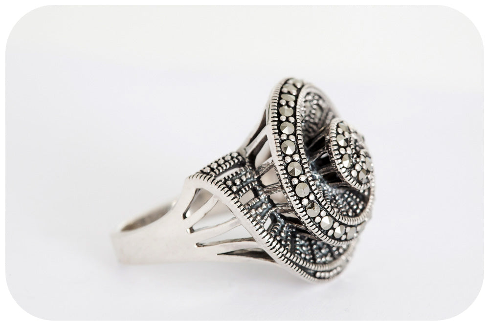 The Marcasite Spiral Ring - Medium - Victoria's Jewellery
