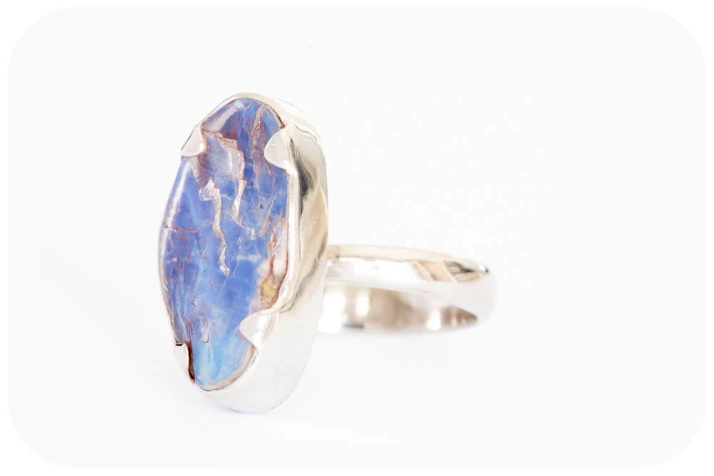 Exquisite Rough cut Blue Moonstone Ring in Sterling Silver - 10.5ct