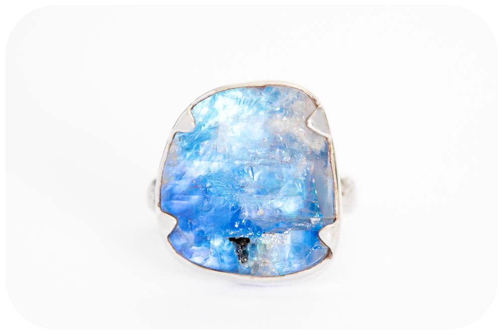 Blue Moonstone Rough cut Ring in Sterling Silver - 18.7ct