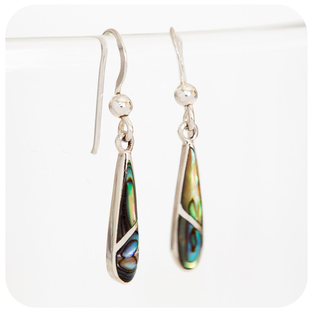 Green and Blue Rainbow Shell Drop Earrings in 925 Sterling Silver - Victoria's Jewellery