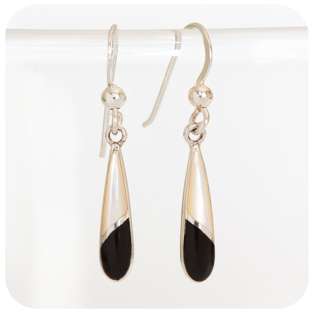 Delicate Black and White Mother of Pearl Drop Earrings in 925 Sterling Silver - Victoria's Jewellery