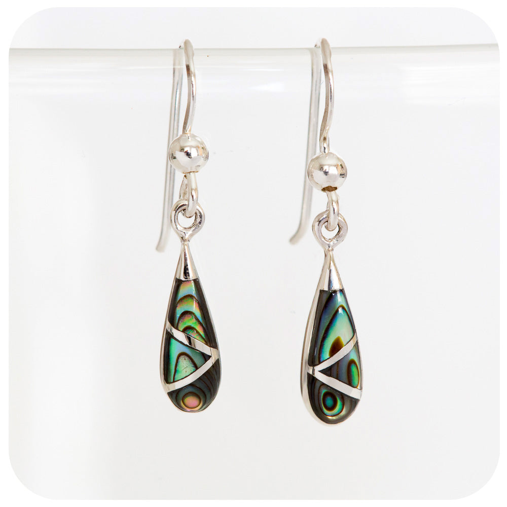 Delicate Green and Blue Rainbow Shell Drop Earrings in 925 Sterling Silver - Victoria's Jewellery