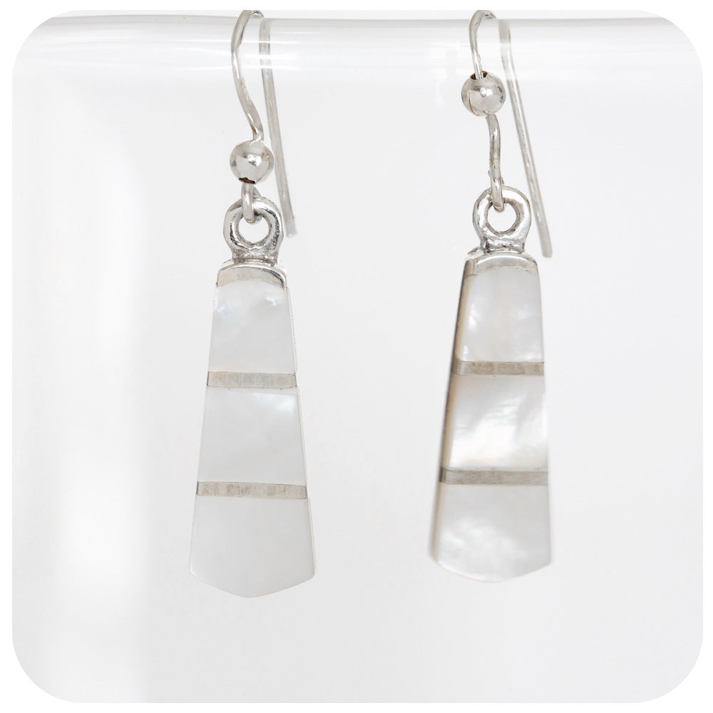 Lustrous White Art Deco Mother of Pearl Inlay Earrings in 925 Sterling Silver - Victoria's Jewellery