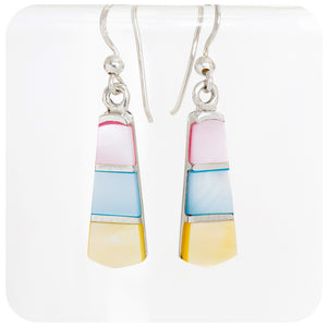 Pink, Blue and Yellow Mother of Pearl Inlay Earrings in Sterling Silver - Victoria's Jewellery