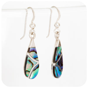 Blue and Green Rainbow Shell Drop Earrings in 925 Sterling Silver - Victoria's Jewellery