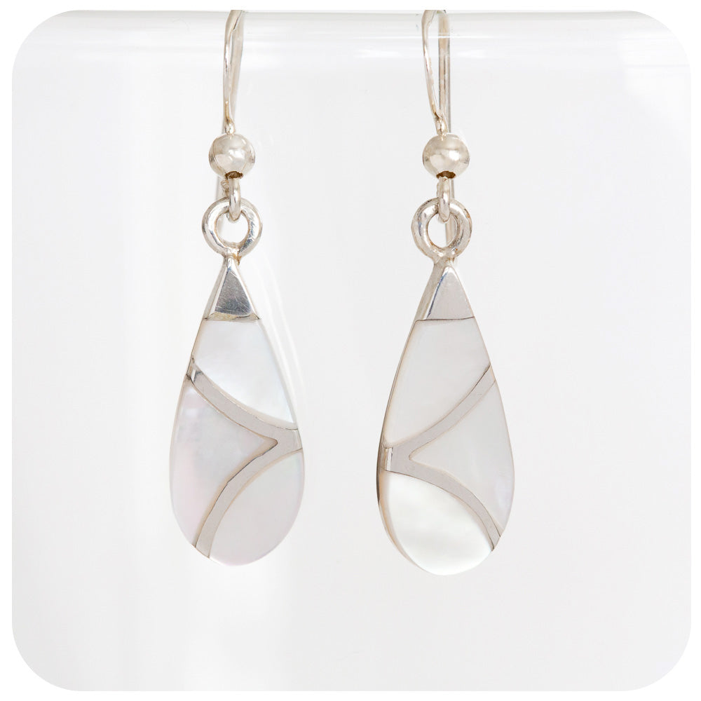 Lustrous White Mother of Pearl Drop Earrings in 925 Sterling Silver - Victoria's Jewellery