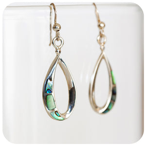 Blue and Green Rainbow Shell Inlay Earrings in 925 Sterling Silver - Victoria's Jewellery