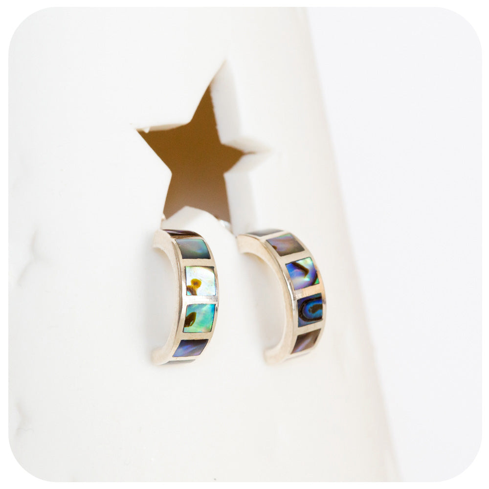 Green and Blue Rainbow Mother of Pearl Inlay Hoop Earrings - Victoria's Jewellery