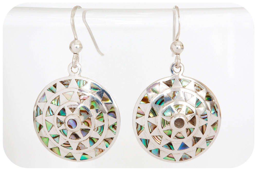 Green and Blue Rainbow Mother of Pearl Disc Earrings in 925 Sterling Silver - Victoria's Jewellery