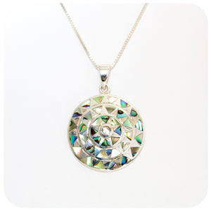 Green and Blue Rainbow Mother of Pearl Disc Pendant - Victoria's Jewellery