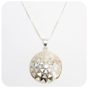 Lustrous White Mother of Pearl Inlay Disc Pendant - Victoria's Jewellery