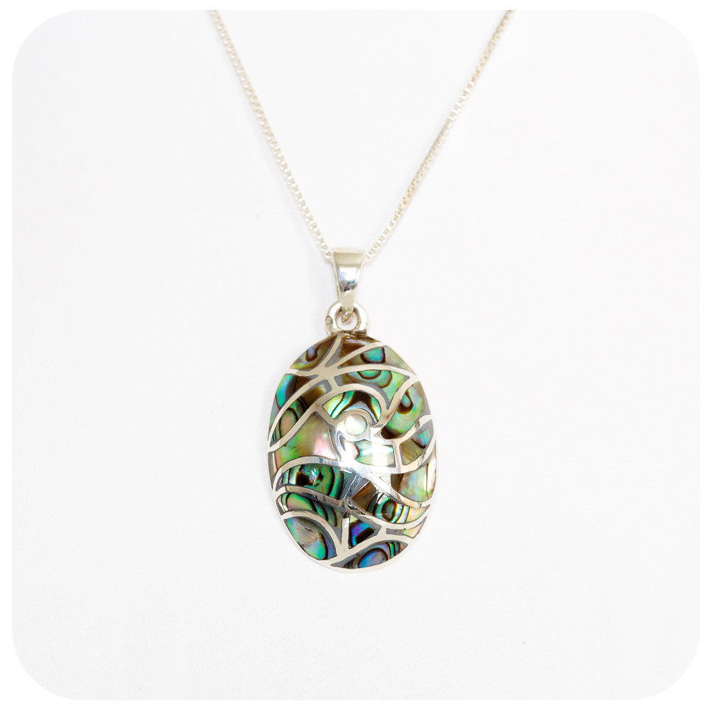 Green and Blue Rainbow Mother of Pearl Inlay Pendant - Victoria's Jewellery