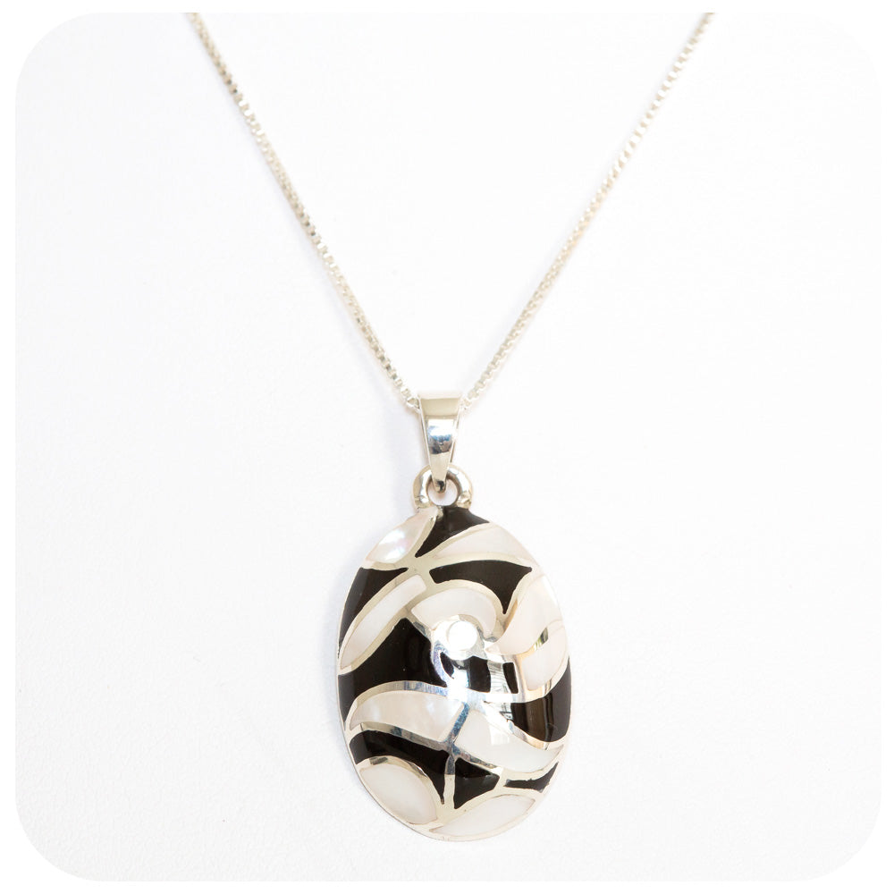 Black and White Mother of Pearl Inlay Pendant - Victoria's Jewellery