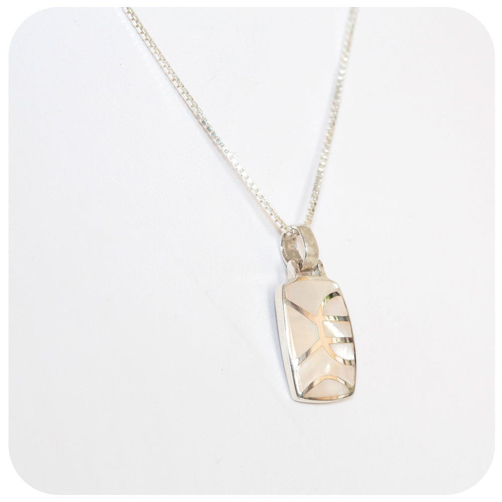 Lustrous White Mother of Pearl Inlay Pendant - Victoria's Jewellery