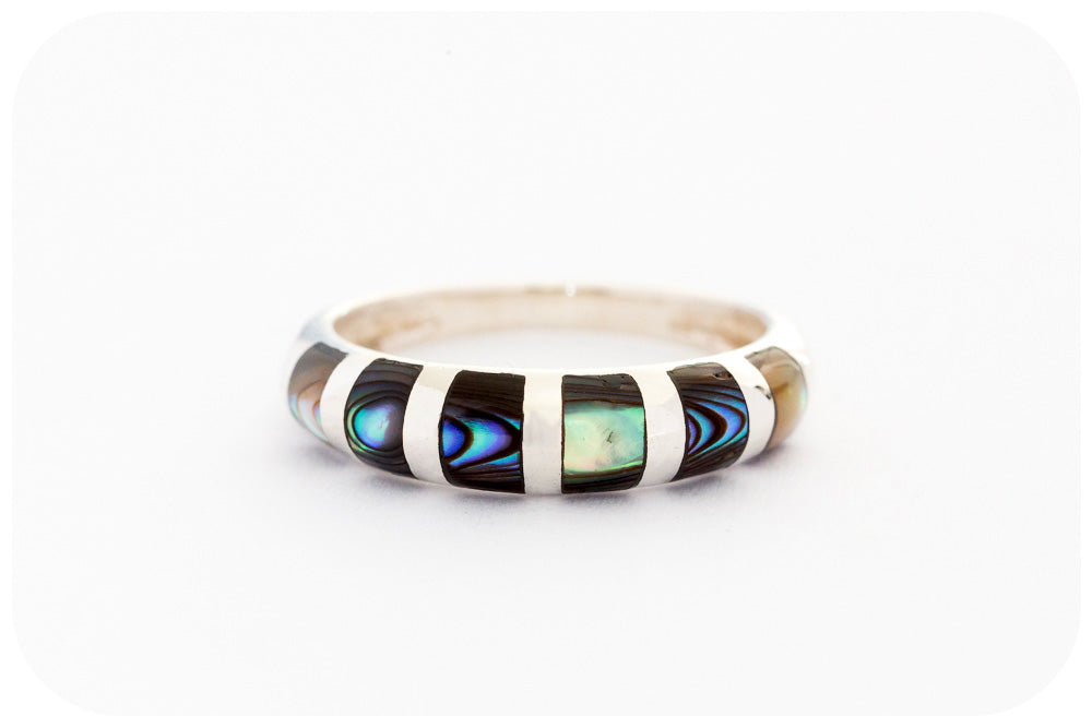 Blue and Green Rainbow Mother of Pearl Ring in Sterling Silver