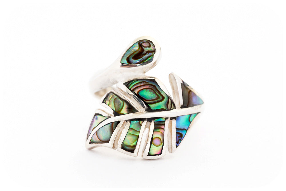 Green and Blue Mother of Pearl Leaf Ring in Sterling Silver