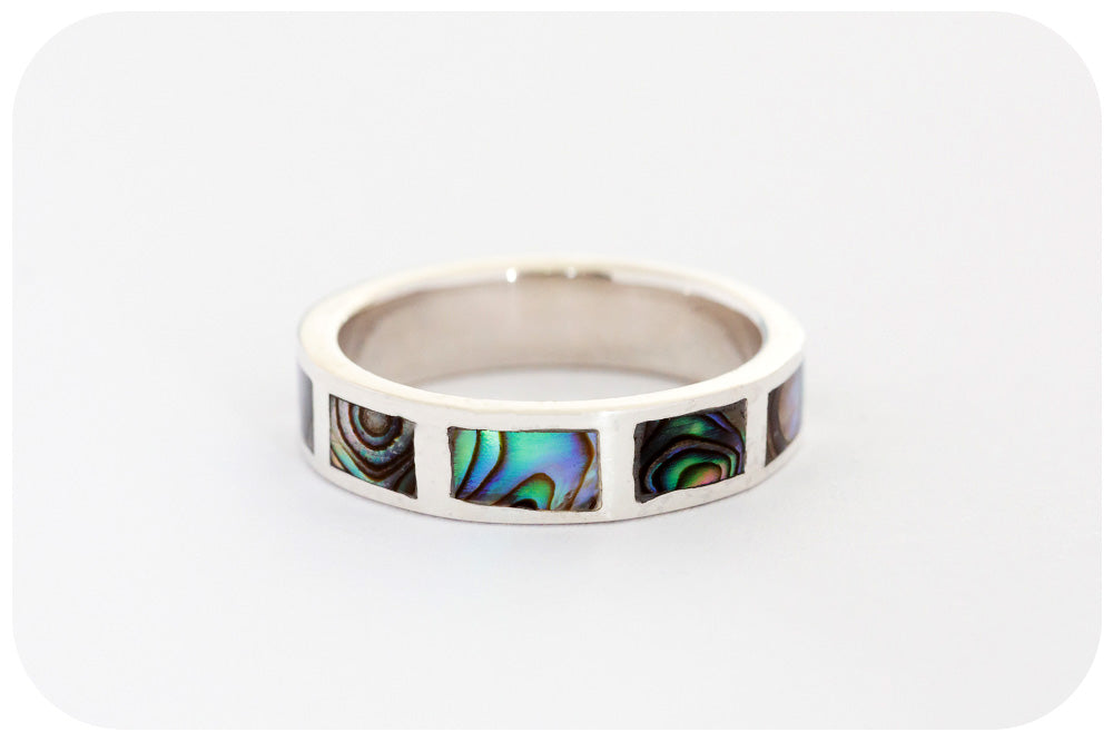 Blue and Green Rainbow Mother of Pearl Eternity Ring in Sterling Silver
