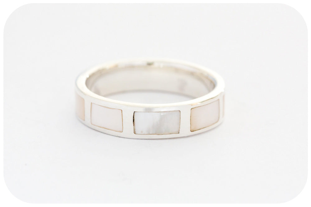 Lustrous White Mother of Pearl Eternity Ring in Sterling Silver