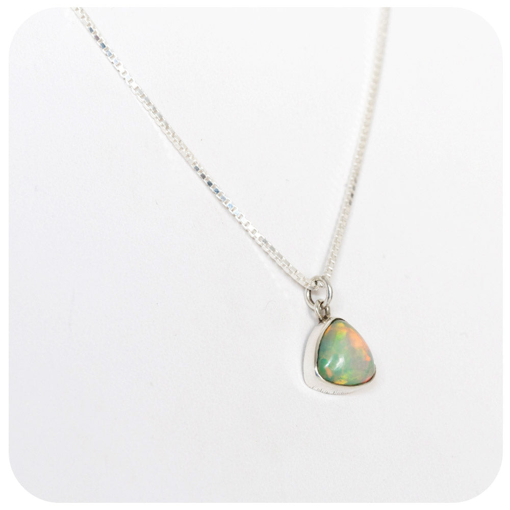 Triangular Cabochon cut Opal Necklace in Sterling Silver