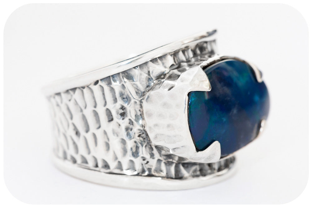Blue Opal Ring in Sterling Silver with Textured Design