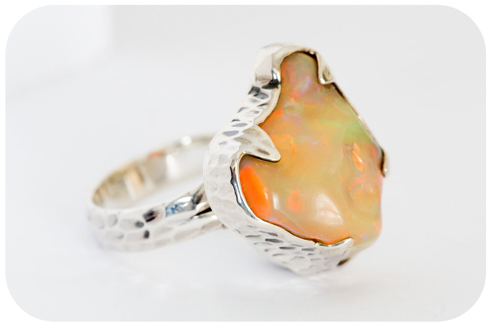 Magnificent Yellow Opal with Red Fire, set in handmade Sterling Silver Ring