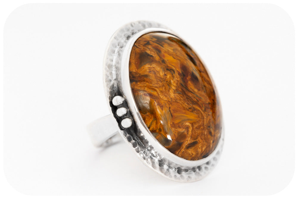 Oval cut Pietersite Ring in Sterling Silver
