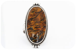 Oval cut Pietersite Ring set in a Sterling Silver Frame