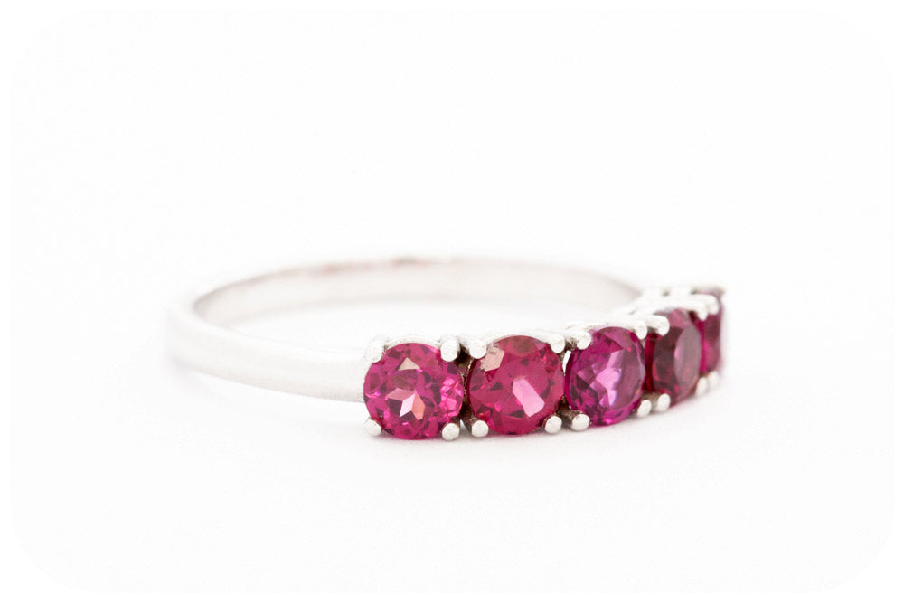 The Rhodalite 5 Stone Half Eternity Ring in Sterling Silver