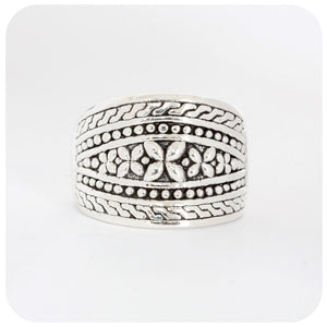 Sterling Silver Oxidised Flower Ring