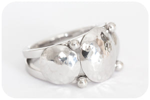 Bohemian Hand Crafted Three Hammered Disc Ring in 925 Sterling Silver - Victoria's Jewellery