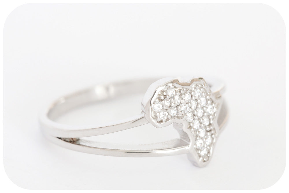Cubic Zirconia Encrusted Africa Ring Crafted in 925 Sterling Silver with a Fine Rhodium Finish - Victoria's Jewellery