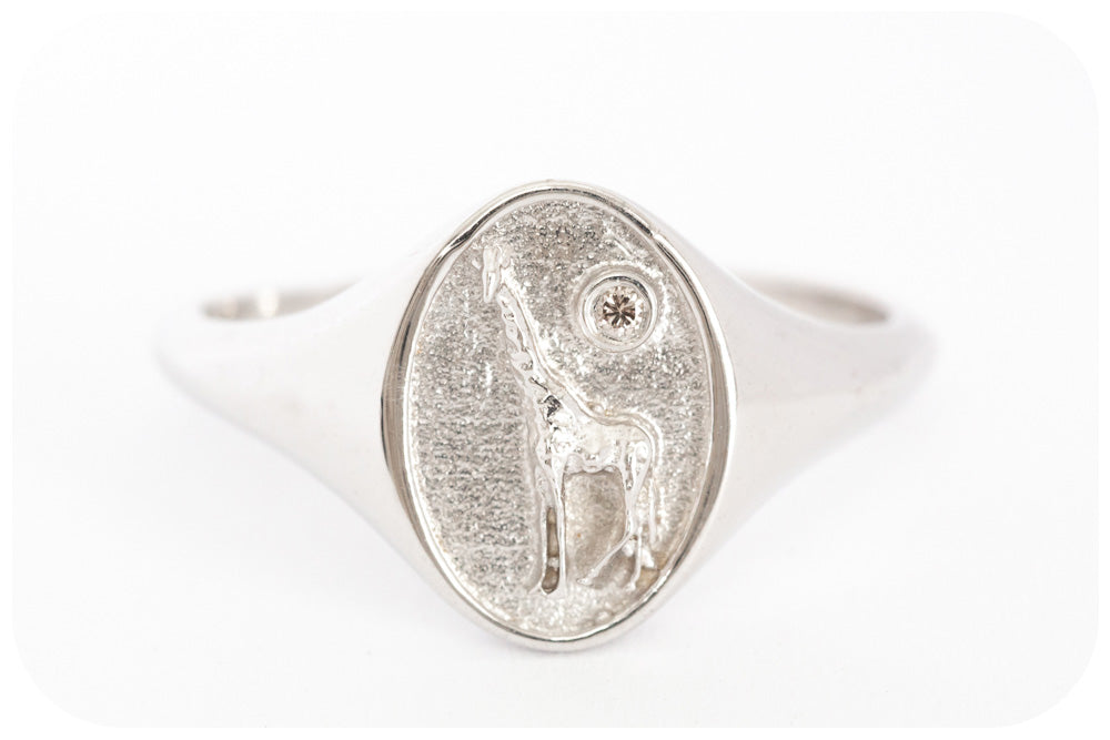 Signet Ring with Giraffe and Diamond Crown Crafted in 925 Sterling Silver with a fine Rhodium finish - Victoria's Jewellery
