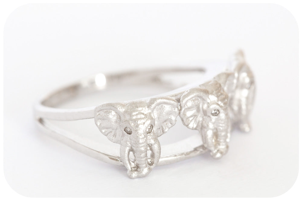 African Elephant Head and Diamond Ring Crafted in 925 Sterling Silver with a Fine Rhodium finish - Victoria's Jewellery