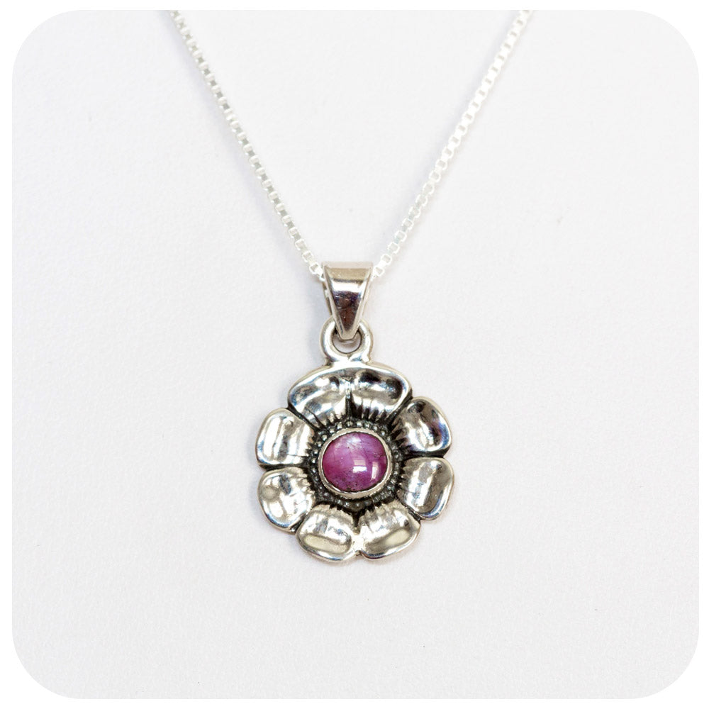 Flower Pendant in Sterling Silver with Pink Star Ruby