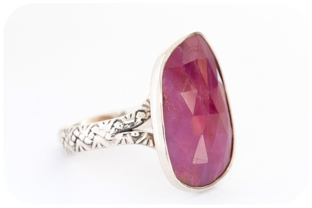 Faceted Ruby Ring in Sterling Silver - Victoria's Jewellery