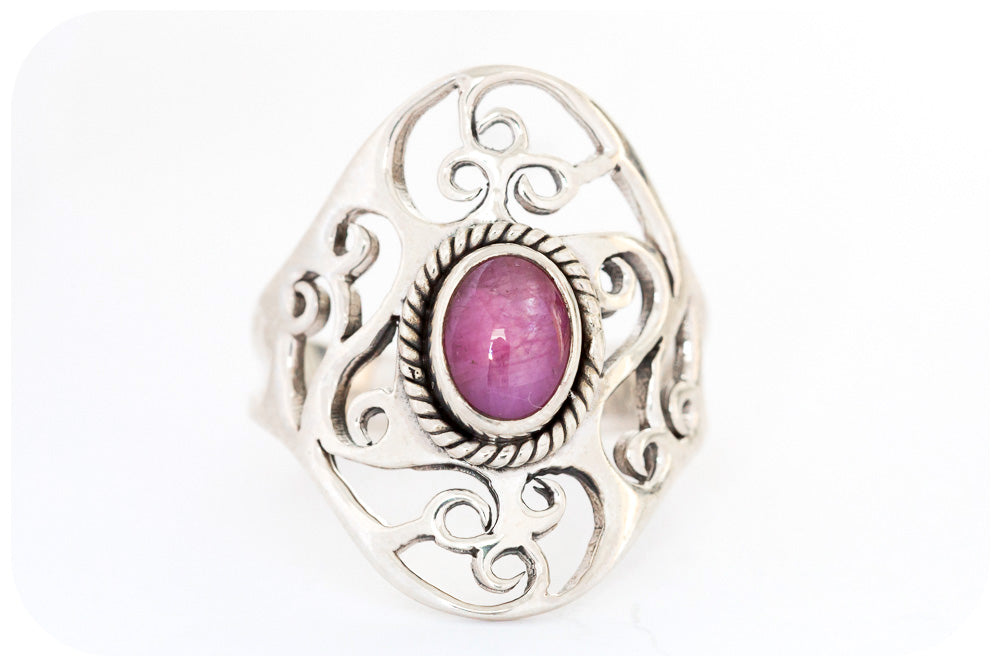 Oval cut Ruby Ring in Sterling Silver - Victoria's Jewellery