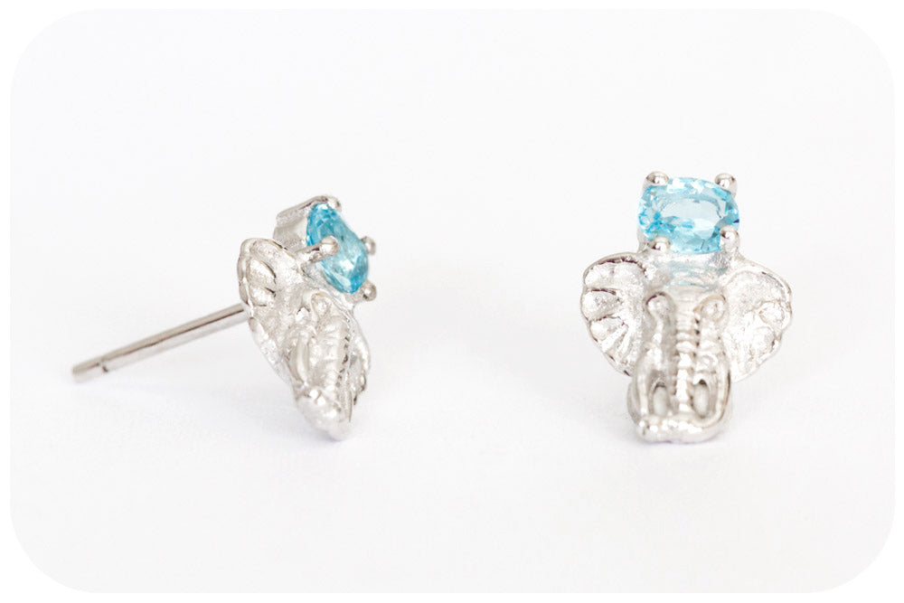 Elephant Stud Earrings with Oval cut Swiss Blue Topaz in Sterling Silver