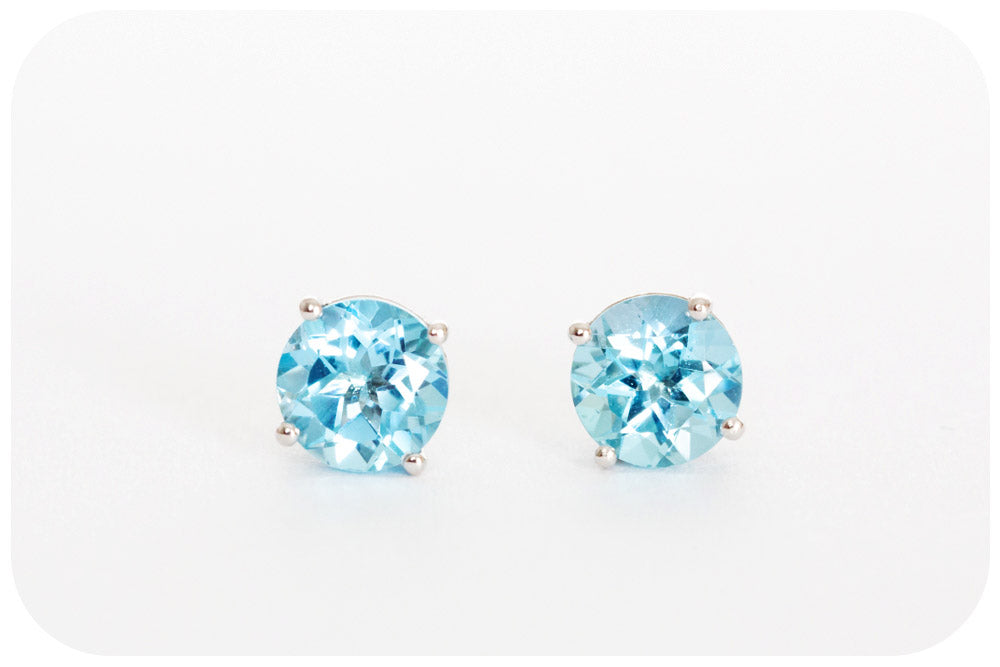 Swiss Blue Topaz Stud Earrings in Sterling Silver - 6mm