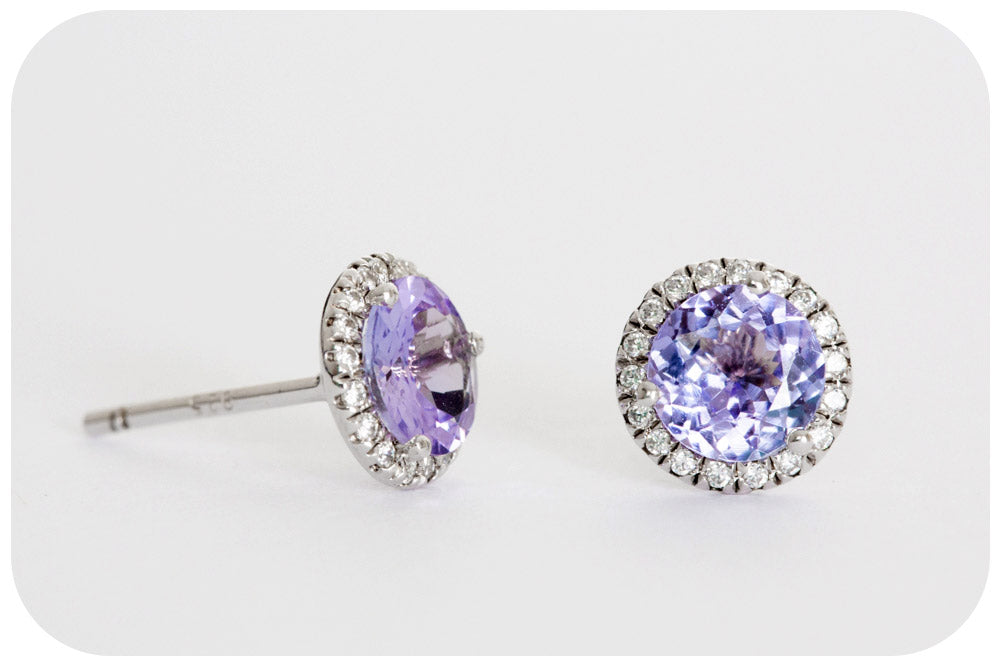Round cut Tanzanite and Cubic Zirconia Stud Earrings in Sterling Silver - 1.50ct
