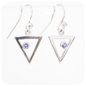 Triangle Earrings with Round cut Tanzanite
