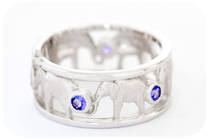 Elephant Eternity Ring with Tanzanite in Sterling Silver
