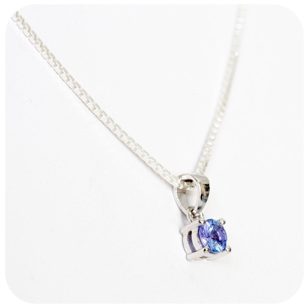 Round Cut Tanzanite Pendant in Sterling Silver - Victoria's Jewellery