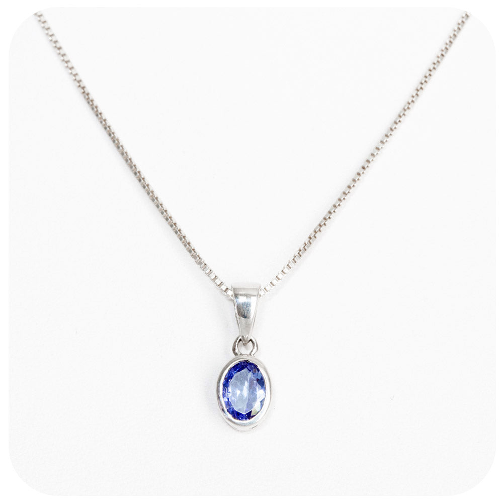Oval Cut Tanzanite Pendant in Sterling Silver - 7x5mm